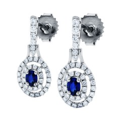 Double Halo Sapphire Drop Earrings image 1