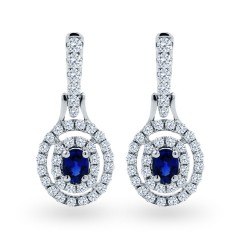 Double Halo Sapphire Drop Earrings image 0