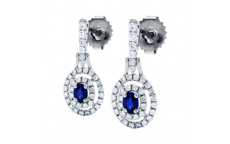 Double Halo Sapphire Drop Earrings product image 2