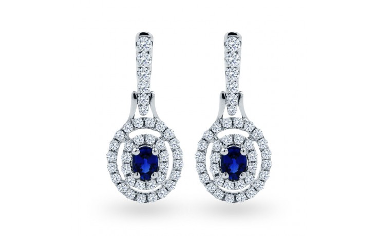 Double Halo Sapphire Drop Earrings product image 1