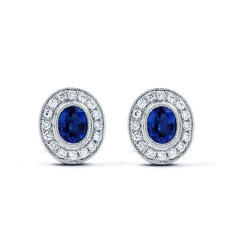 Vintage Sapphire Earrings with Milgrain image 1