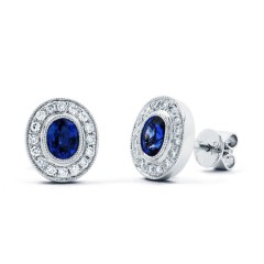 Vintage Sapphire Earrings with Milgrain image 0