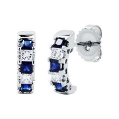 Half Hoop Sapphire Earrings image 1