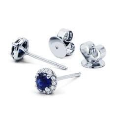 Sapphire Halo Earrings image 1
