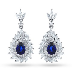 Athena Sri Lankan Sapphire and Diamond Earrings image 0