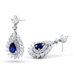 Athena Sri Lankan Sapphire and Diamond Earrings image 1