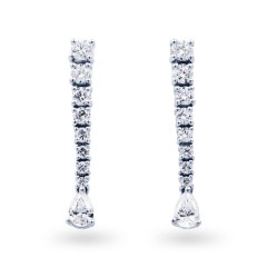 Diamond Drop Earrings in White Gold image 0