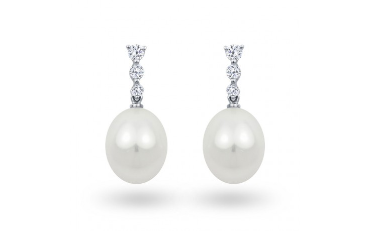 Cultured Diamond & Pearl Earrings product image 1