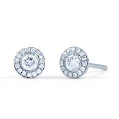 Diamond Halo Earrings image 1
