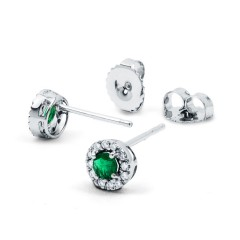 Emerald Stud Earrings in White Gold image 1