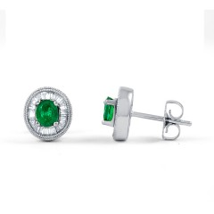Muses Emerald Earrings with Baguette Diamonds image 1