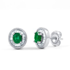 Muses Emerald Earrings with Baguette Diamonds image 0