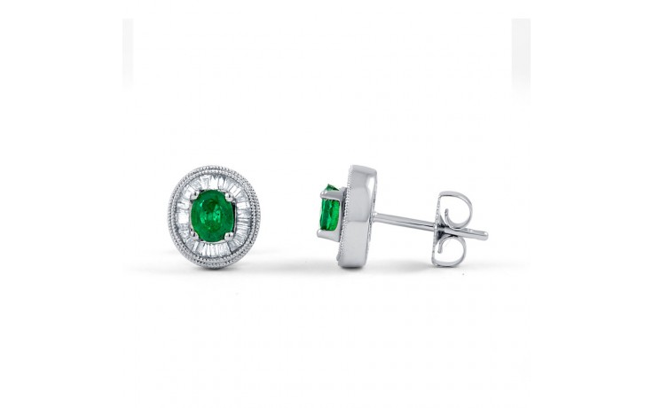 Muses Emerald Earrings with Baguette Diamonds product image 2