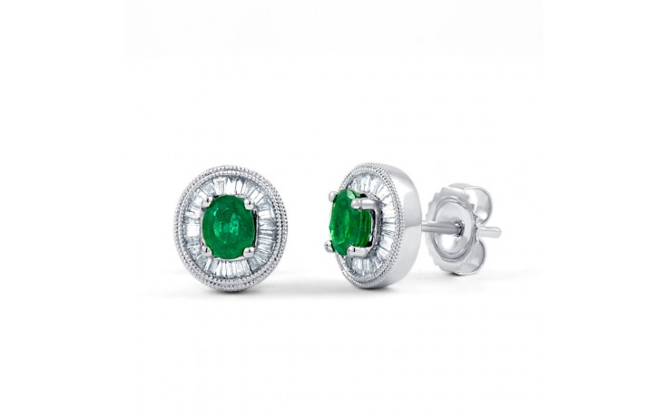 Muses Emerald Earrings with Baguette Diamonds product image 1