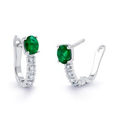 Emerald Hoop Earrings in White Gold image 1