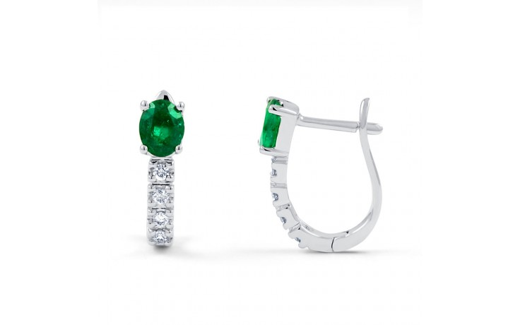 Emerald Hoop Earrings in White Gold product image 1