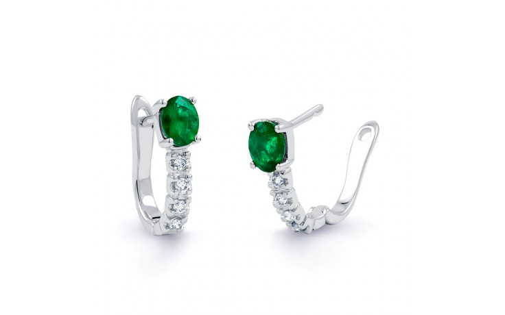 Emerald Hoop Earrings in White Gold product image 2