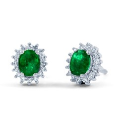 Emerald Halo Stud Earrings image 1