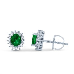 Emerald Halo Stud Earrings image 0