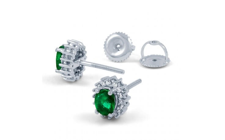 Emerald Halo Stud Earrings product image 3
