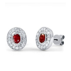 Vintage Ruby Earrings with Milgrain image 0