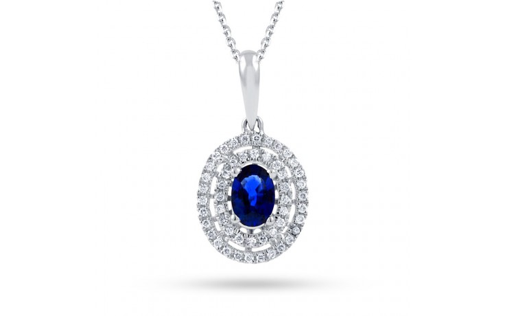 Double Halo Sapphire Pendant product image 2