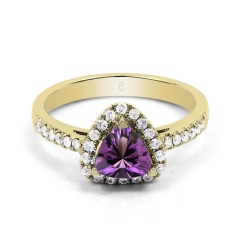 18ct Yellow Gold Amethyst & Diamond Trillion Engagement Ring 0.3ct 2.5mm image 0