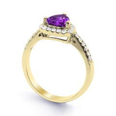 18ct Yellow Gold Amethyst & Diamond Trillion Engagement Ring 0.3ct 2.5mm image 1