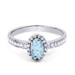 18ct White Gold Aquamarine & Diamond Halo Engagement Ring 0.32ct 2mm image 0