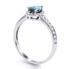 18ct White Gold Aquamarine & Diamond Halo Engagement Ring 0.32ct 2mm image 1