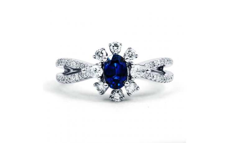Floral Pave Blue Sapphire Ring product image 1