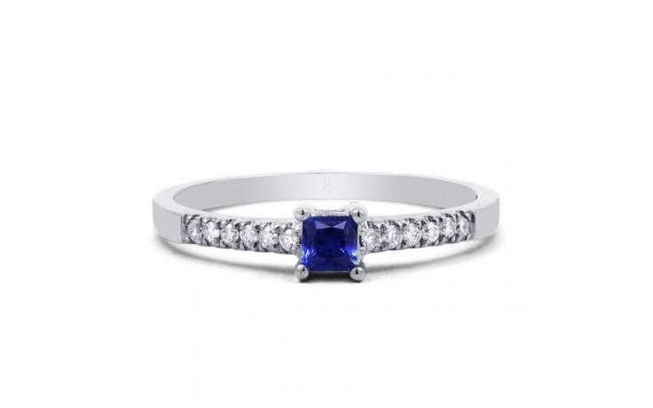 9ct White Gold Blue Sapphire & Diamond Engagement Ring Princess product image 1