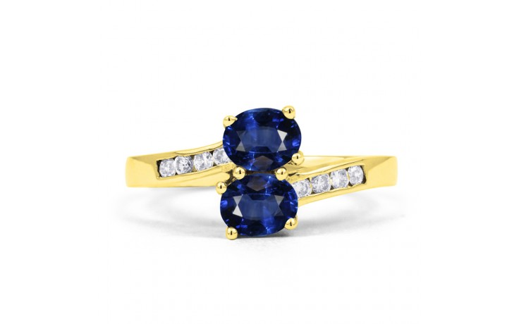Blue Sapphire Gold Crossover Ring product image 1