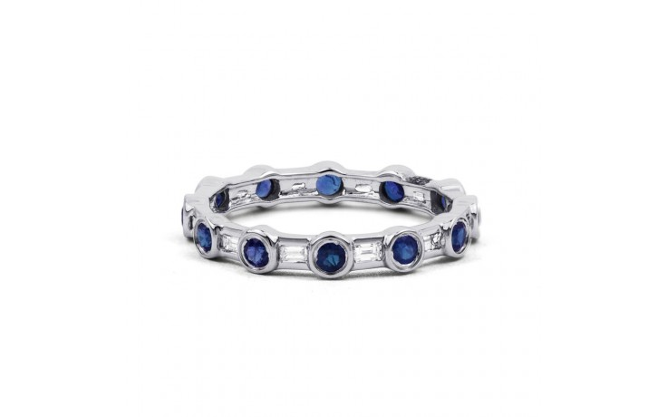 18ct White Gold Blue Sapphire & Diamond Full Eternity Ring Band 0.42ct 3mm product image 1