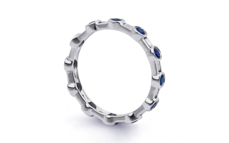 18ct White Gold Blue Sapphire & Diamond Full Eternity Ring Band 0.42ct 3mm product image 2