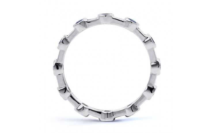 18ct White Gold Blue Sapphire & Diamond Full Eternity Ring Band 0.42ct 3mm product image 3
