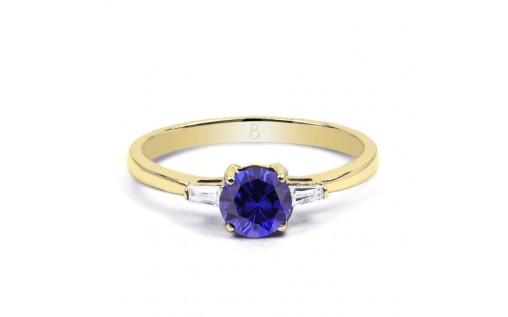 Round Blue Sapphire Gold Ring product image 1