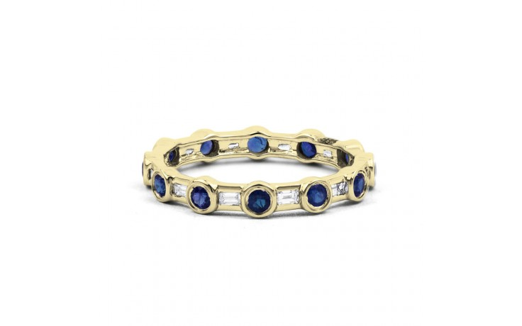 18ct Yellow Gold Blue Sapphire & Diamond Full Eternity Ring Band 0.42ct 3mm product image 1