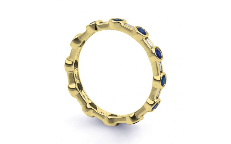 18ct Yellow Gold Blue Sapphire & Diamond Full Eternity Ring Band 0.42ct 3mm product image 2