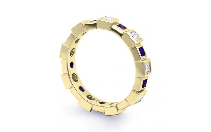 18ct Yellow Gold Blue Sapphire & Diamond Designer Full Eternity Ring 0.75ct 5mm product image 2