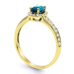 18ct Yellow Gold Blue Topaz & Diamond Halo Engagement Ring 0.32ct 2mm image 1