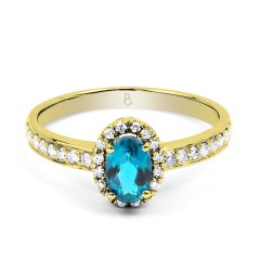 18ct Yellow Gold Blue Topaz & Diamond Halo Engagement Ring 0.32ct 2mm image 0