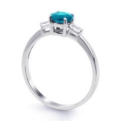 18ct White Gold Blue Topaz & Diamond Engagement Ring 0.12ct 2mm image 1