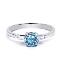 18ct White Gold Blue Topaz & Diamond Engagement Ring 0.12ct 2mm image 0