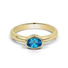 18ct Yellow Gold Blue Topaz Birthstone Engagement Ring 2.5mm image 0