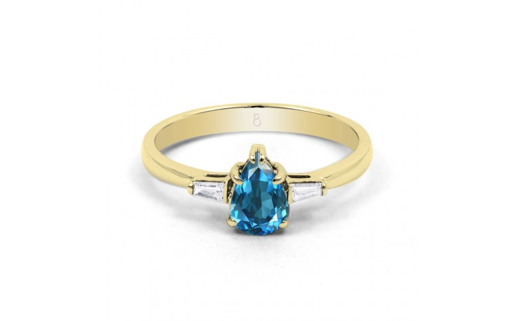 Blue Topaz & Diamond Pear Gold Ring  product image 1