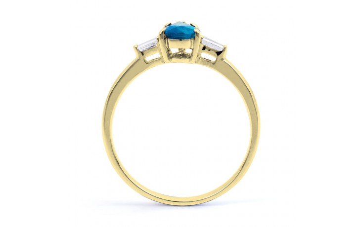 Blue Topaz & Diamond Pear Gold Ring  product image 3