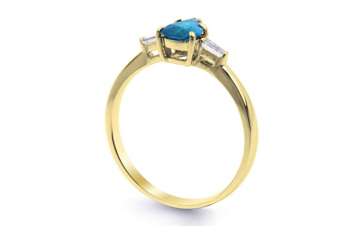 Blue Topaz & Diamond Pear Gold Ring  product image 2