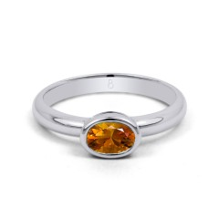 18ct White Gold Citrine Birthstone Engagement Ring 2.5mm image 0