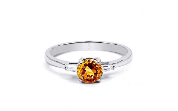 Citrine & Diamond White Gold Ring product image 1